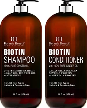 BOTANIC HEARTH Biotin Shampoo and Conditioner Set - with Ginger Oil & Keratin for Hair Loss and Thinning Hair - Fights Hair Loss, Sulfate Free, for Men and Women, (Packaging May Vary),16 fl oz Each