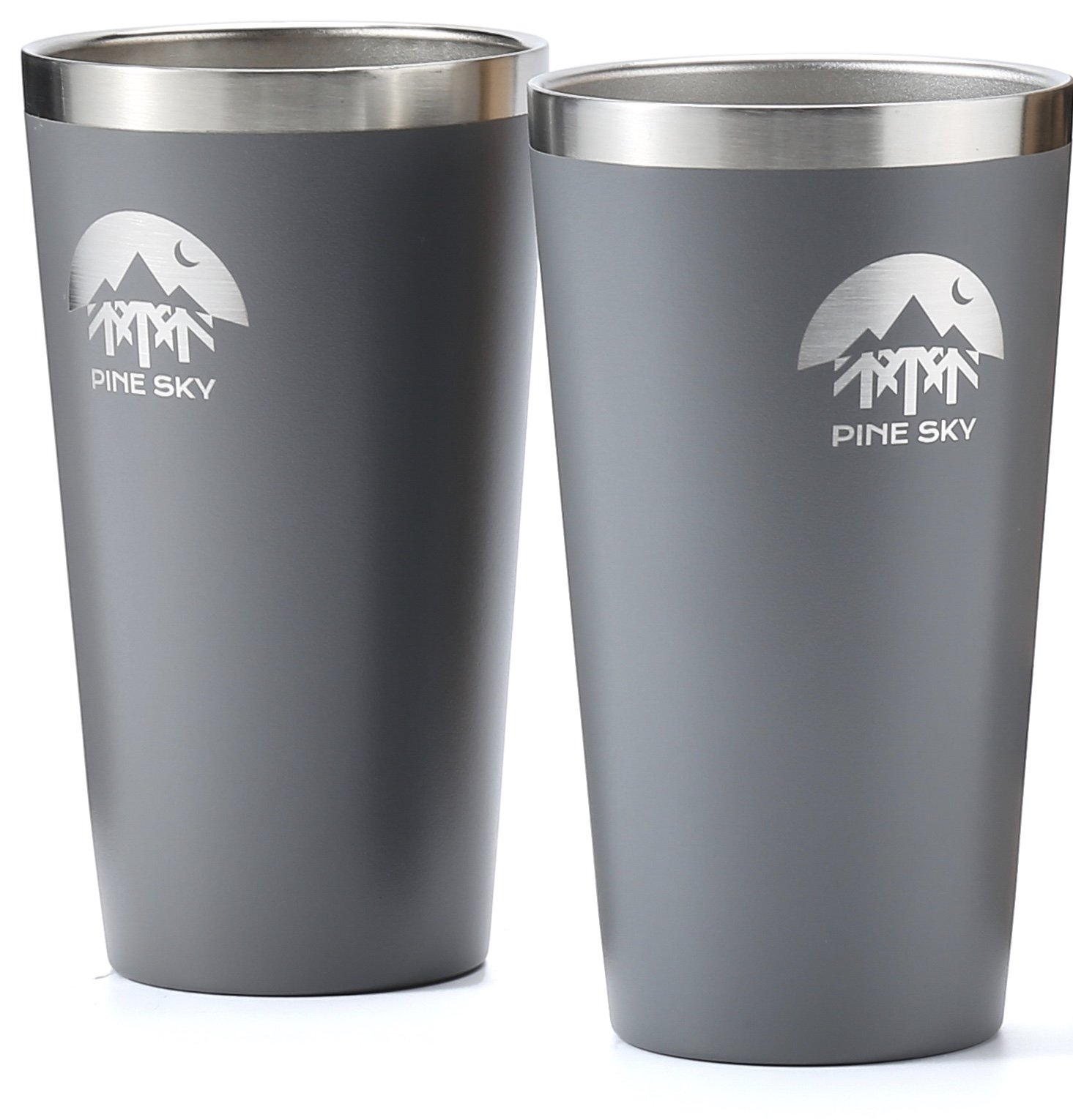 Stainless Steel True Pint Cup by Pine Sky, 16 oz Vacuum Insulated, Stackable Tumbler (Set of 2, Slate)