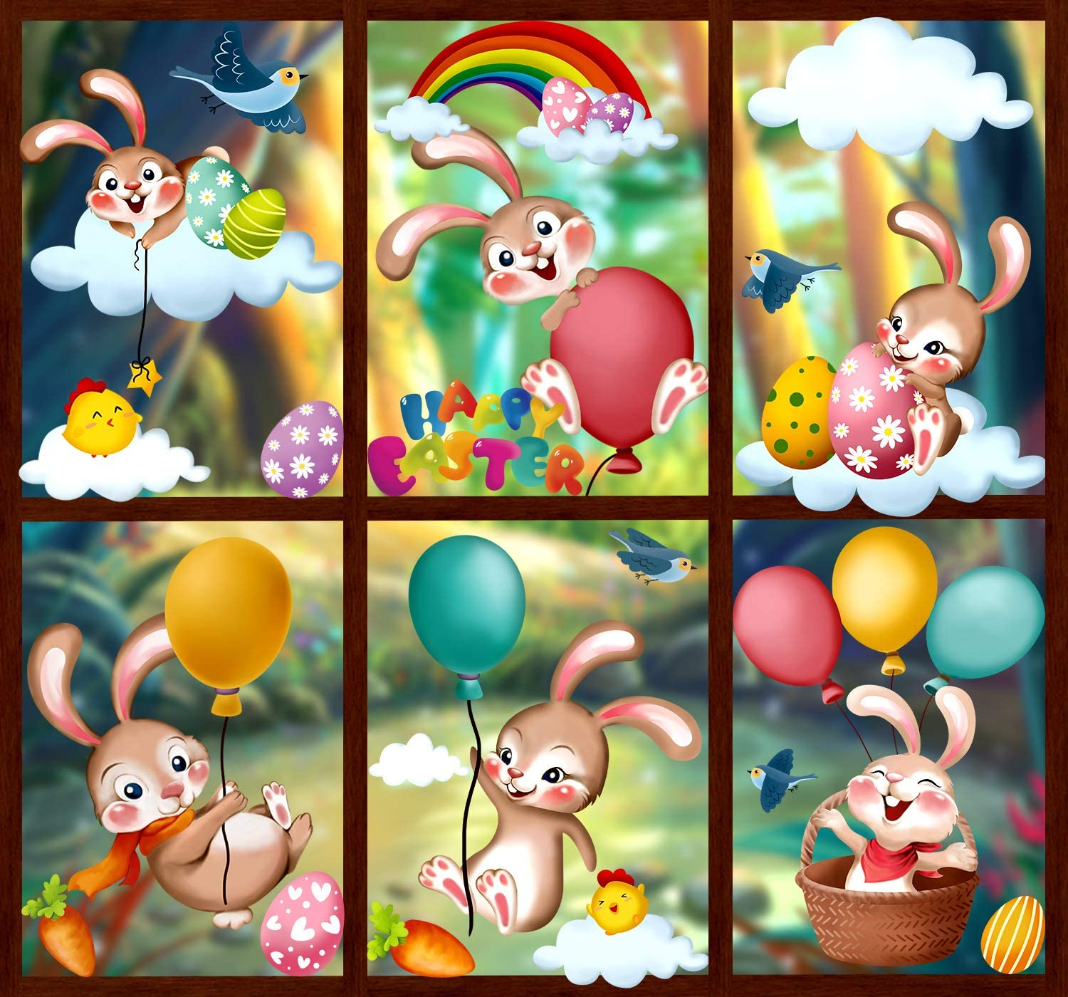 VEYLIN 100Pcs Easter Window Clings, Cute Bunny Eggs Window Stickers for Easter Party Favors