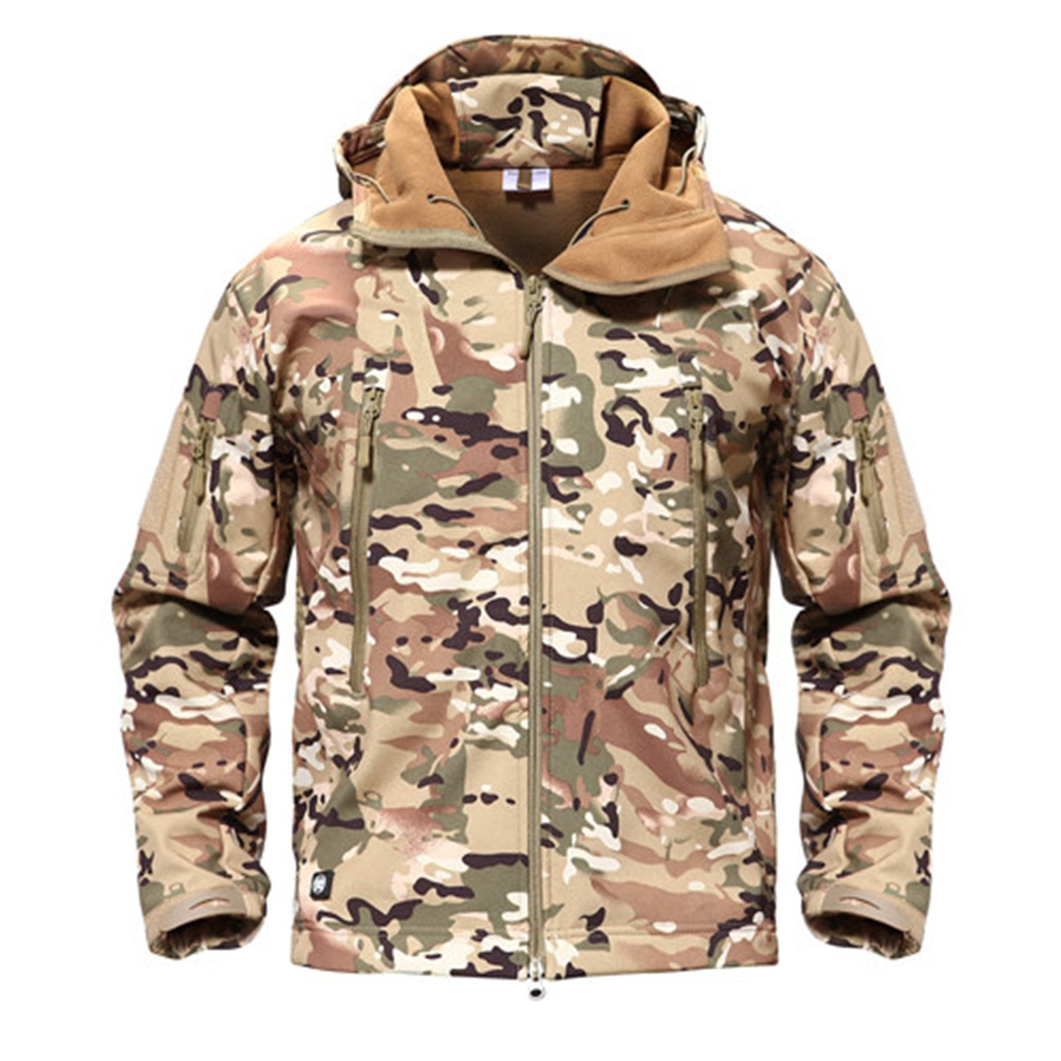 Meetloveyou Military Jacket Men Softshell Waterpoof Camo Clothes Tactical Camouflage Army Hoody Jacket Male Winter Coat CP XS by Meetloveyou Coat (Image #1)