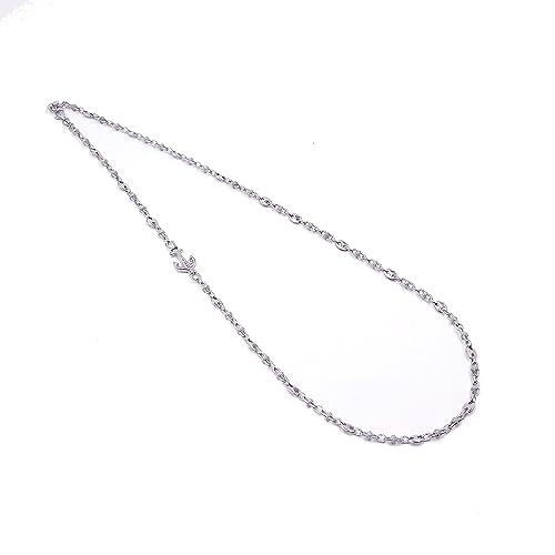 prezzo più basso 1714e 92b43 Collana Uomo Ragazzo girocollo con Ancora maglia Marina in argento 925  Rodiata in Oro Bianco