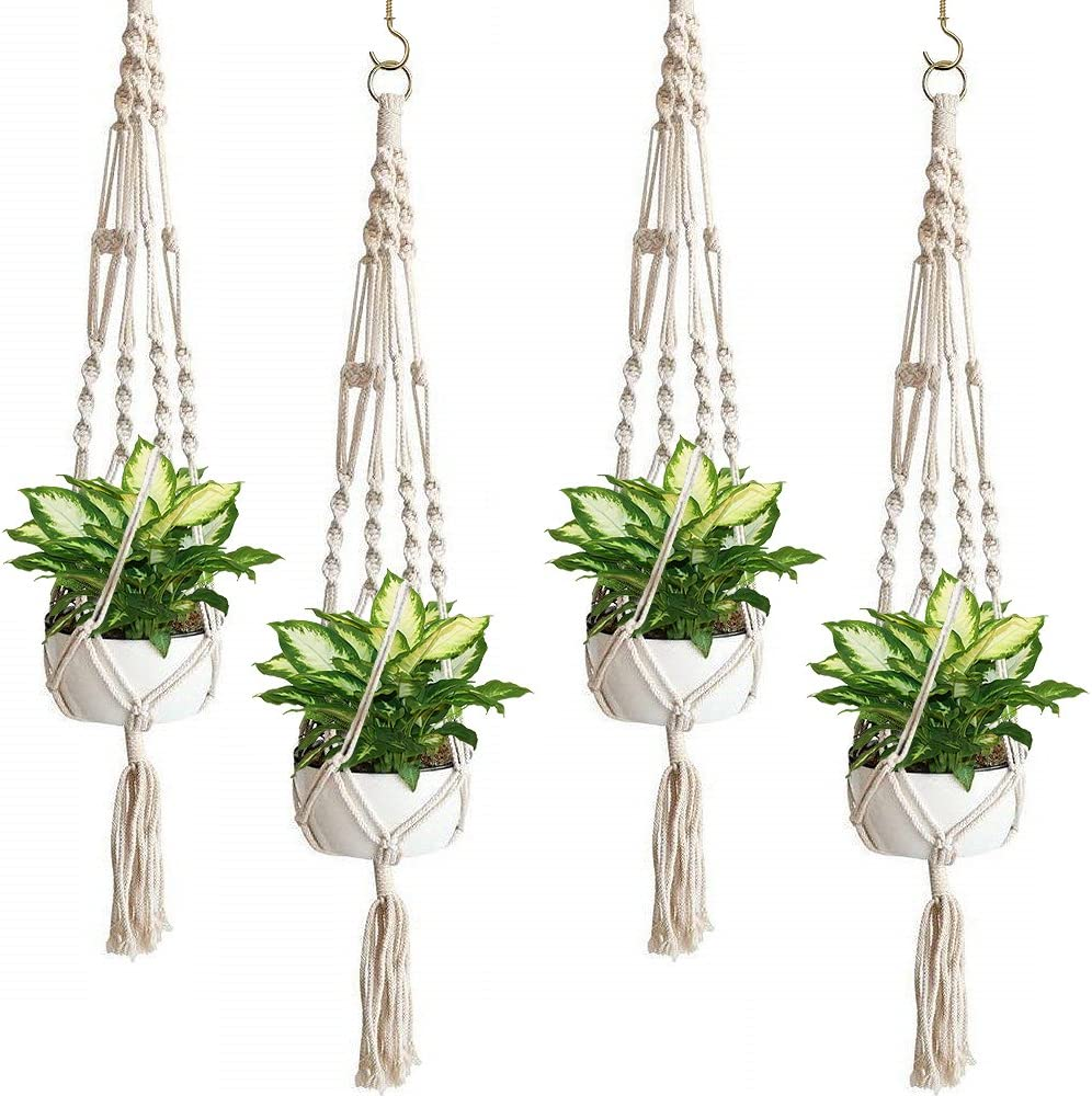 Sorbus Macrame Plant Hanger [4 Pack] Indoor Outdoor Hanging Plant Pots Cotton Rope, Elegant for Home, Patio, Garden
