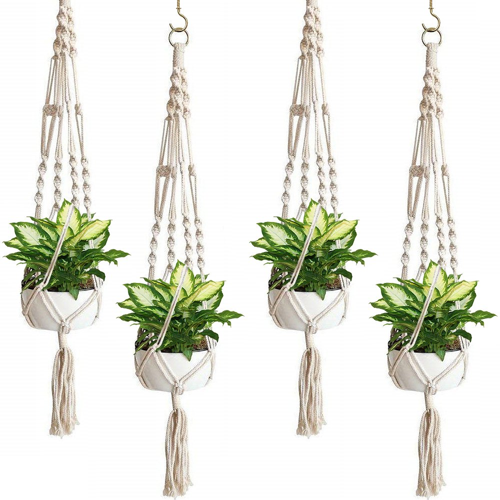 Sorbus Macrame Plant Hanger [4 Pack] Indoor Outdoor Hanging Plant Pots Cotton Rope, Elegant for Home, Patio, Garden by Sorbus