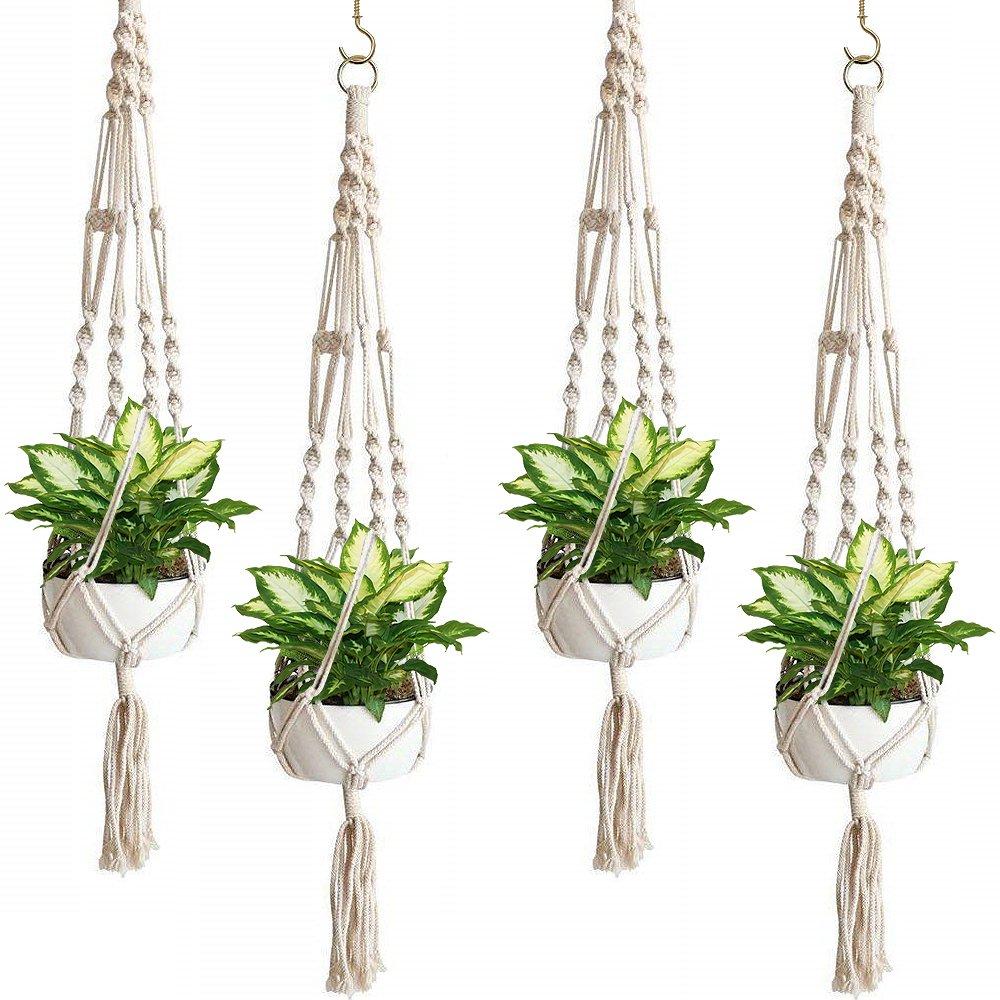 Sorbus Macrame Plant Hanger [4 Pack] Indoor Outdoor Hanging Plant Pots Cotton Rope, Elegant for Home, Patio, Garden