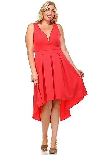 Zoozie LA Women's Plus Size Pleated Midi Cocktail Dress with Empire Waist