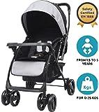 R for Rabbit Cuppy Cake Grand Stroller/Pram -Smart Elegant Baby Stroller and Pram for Babies (Black Grey)