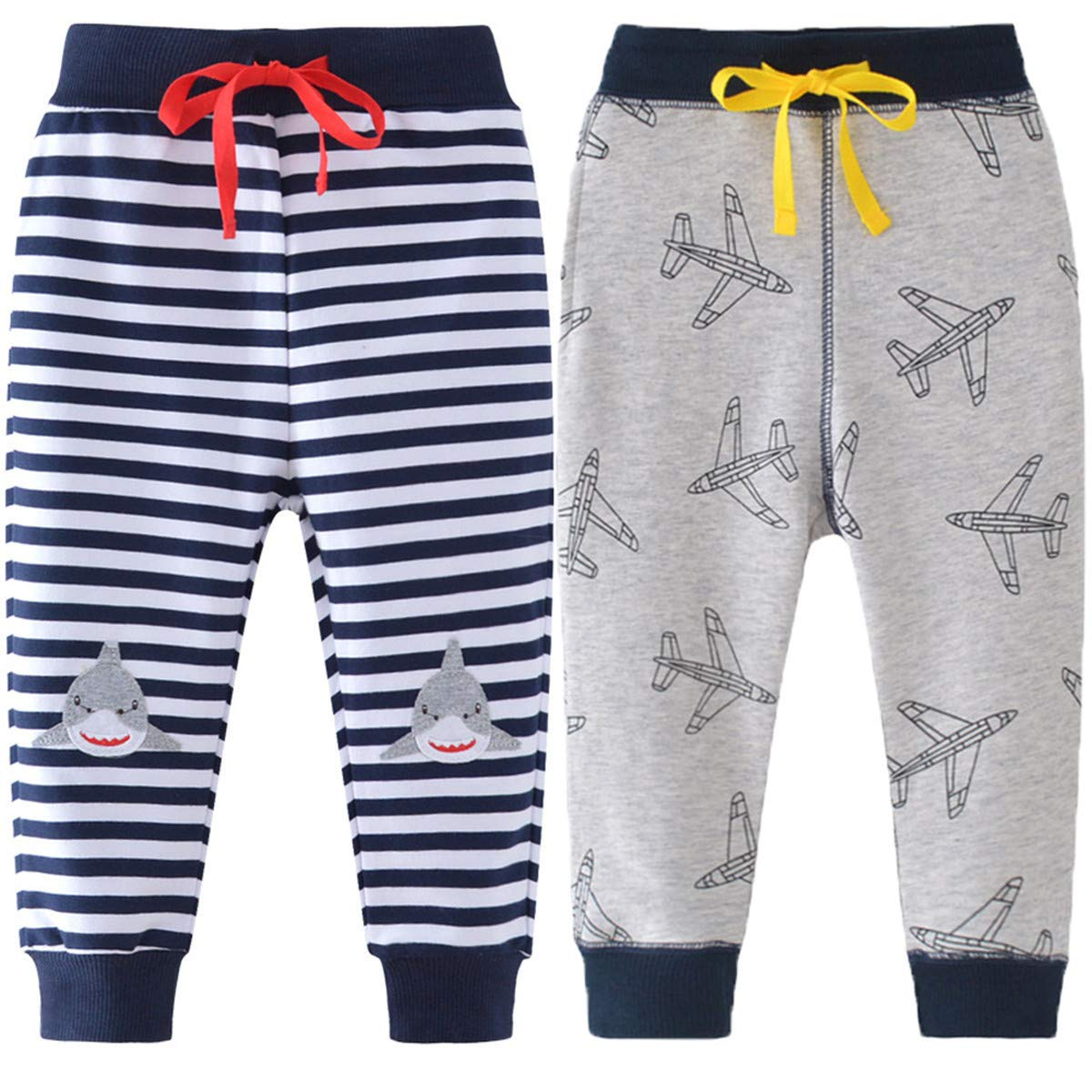 REWANGOING 2 Pack of Little Boys Cartoon Print Drawstring Elastic Sweatpants Sport Jogger 4T