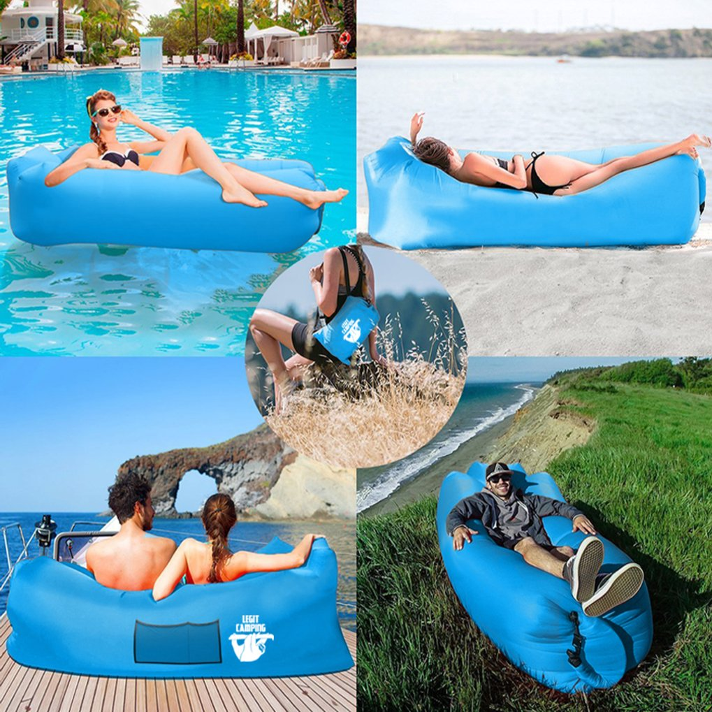 for Camping Beach or Pool Blow up Couch /& Inflatable Sofa with Headrest /& Securing Stake Legit Camping Inflatable Lounger with Carrying Bag /& Pockets for Indoors//Outdoors