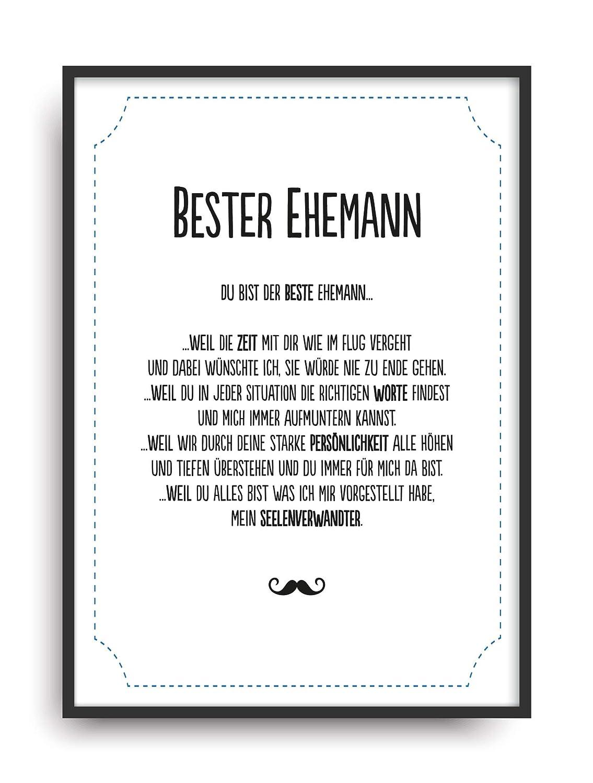Geschenk Karte BESTER EHEMANN Kunstdruck Ehrentitel Mann Freund ...