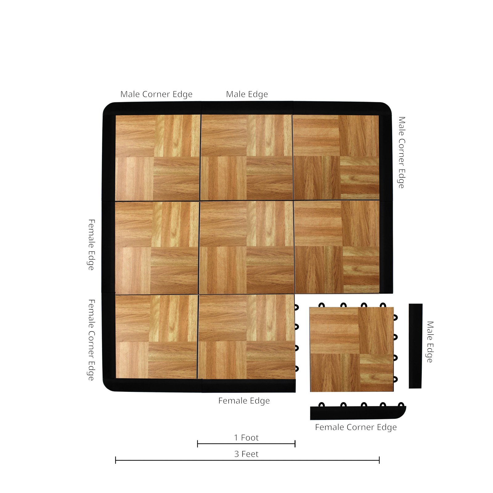 IncStores - 9 Piece Modular Tap Dance Set with Edge Pieces (Oak) - Excellent for use as portable dance floors, trade show booths, and general flooring