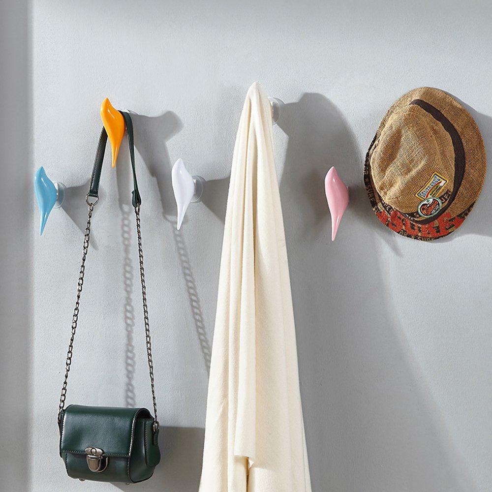 Baffect multiusos resina soporte de pared gancho percha soporte en diseño de pájaros para perchero sombrero toalla bolsa (3pack-blue)