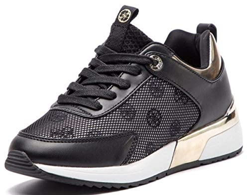 22343a7a184e #Guess Marjin Black Gold Womens Leather Trainers Shoes: Amazon.co.uk: Shoes  & Bags