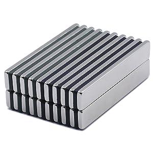 Powerful Neodymium Bar Magnets, Rare-Earth Metal Neodymium Magnet - 60 x 10 x 3 mm, Pack of 24