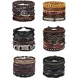 Florideco 30PCS Braided Leather Bracelets for Men Women Wrap Wood Beads Bracelet Woven Ethnic Tribal Rope Wristbands Bracelet