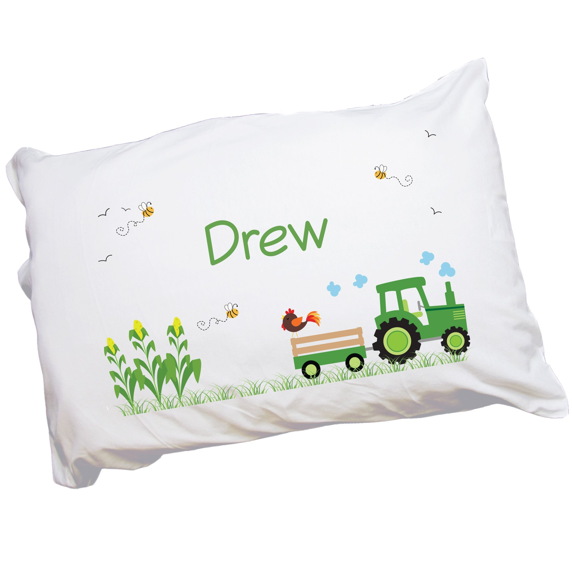 MyBambino Child's Personalized Green Tractor Pillowcase