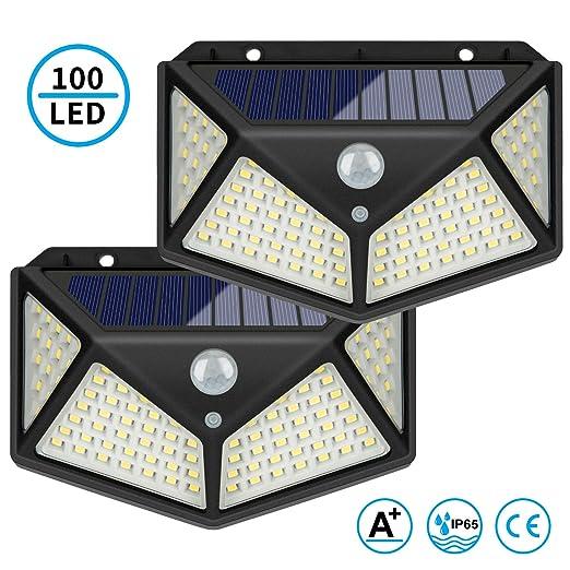 LED Außenwandleuchte solarbetrieben mit 100° Bewegungsmelder Solarleuchte