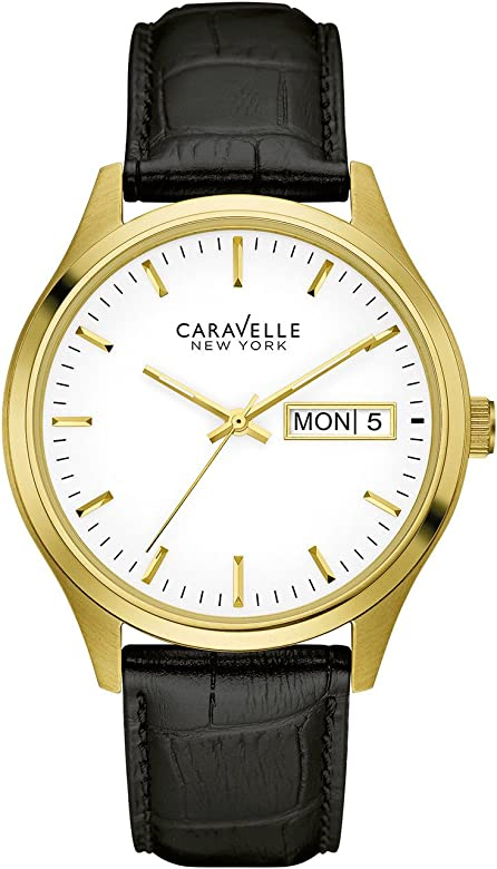 Caravelle New York Men's Quartz Leather Strap Watch: Amazon