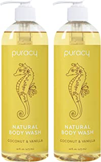 product image for Puracy Body Wash, Coconut & Vanilla, Naturally Skin Softening, Clean Rinsing Shower Gel, Gentle Foaming Cleansers, 16 Ounce (2-Pack)