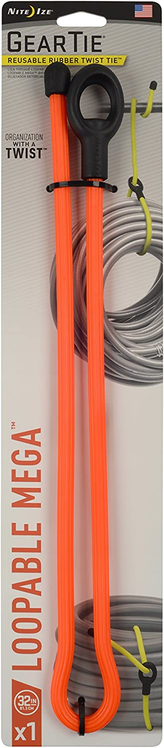 Nite Ize Original Gear Tie Loopable Mega, Reusable Rubber Twist Tie, Bright Orange, Made in the USA, 32-Inch (Single) (GLM32-31-R3)