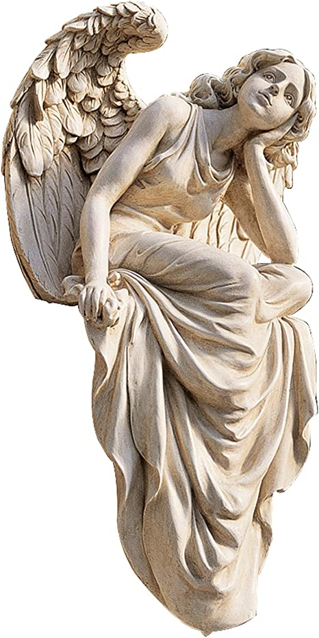 Amazon.com : Design Toscano Resting Grace Angel Sitting Garden Statue, Large, 18 Inch, Polyresin, Ancient Ivory : Outdoor Statues : Garden & Outdoor