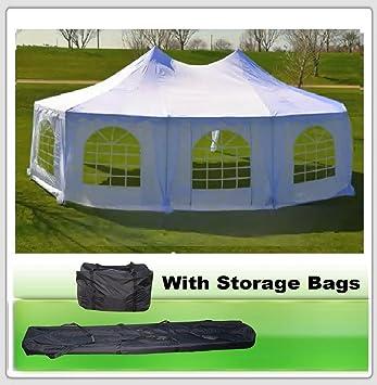 22u0027x16u0027 Octagonal Wedding Party Gazebo Tent Canopy Heavy Duty Water  Resistant White