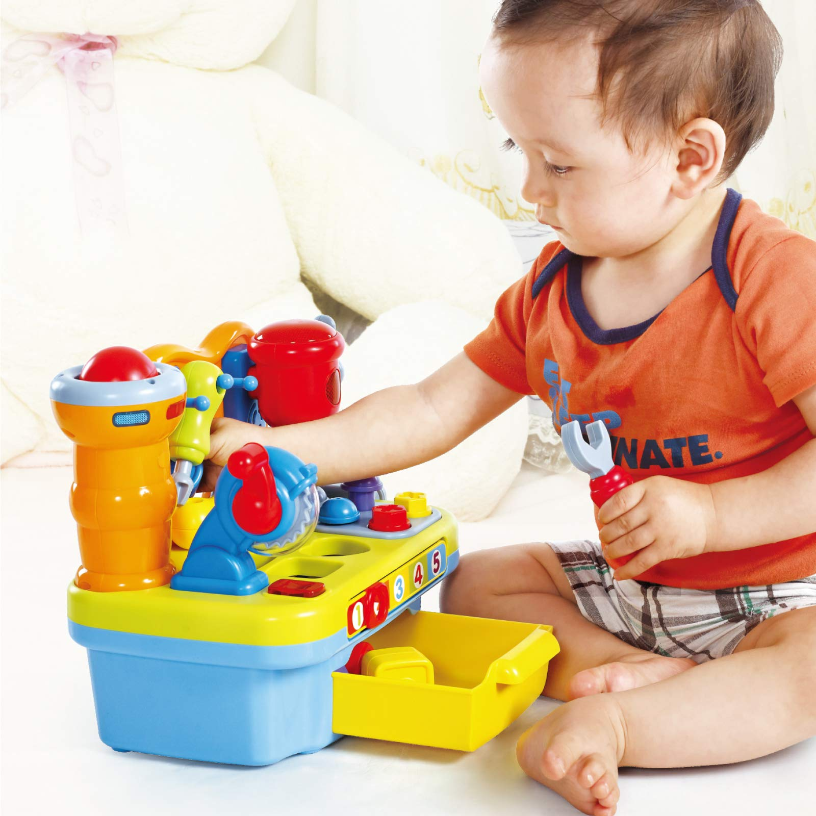 Woby Multifunctional Musical Learning Tool Workbench Toy Set for Kids with Shape Sorter Tools by Woby (Image #5)