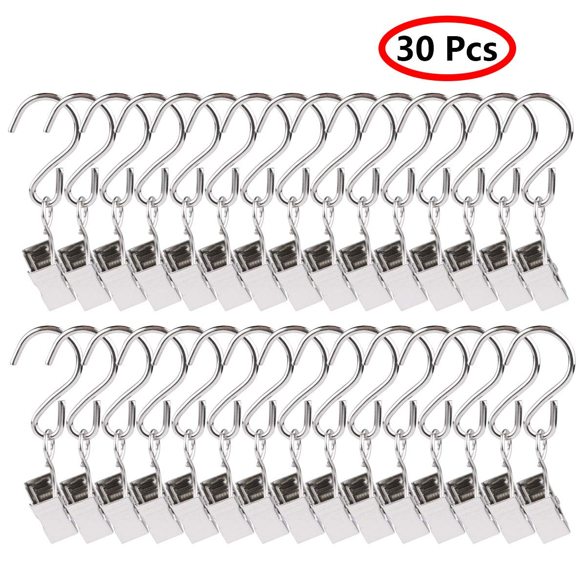 iEFiEL 30 Pack Stainless Steel Curtain Photo Hanging Clips Hooks Hanger for String Lights