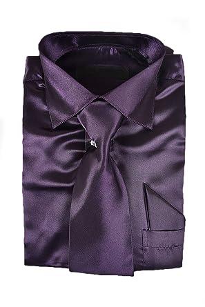 fd054a93d0083 Classy Men s Satin Shiny Dark Purple  Egg Plant Shirt Set + Matching Tie  and Hanky