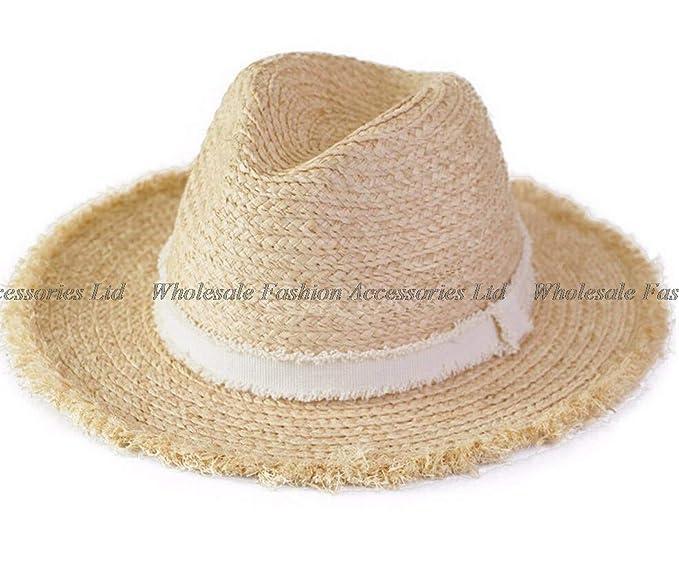 9d30cbde93a91 Handmade Men Grey Panama Straw Fedora Hat 59cm Big Size L Summer Raffia  Hats Beach Wide Brim Sun Caps  Amazon.ca  Clothing   Accessories