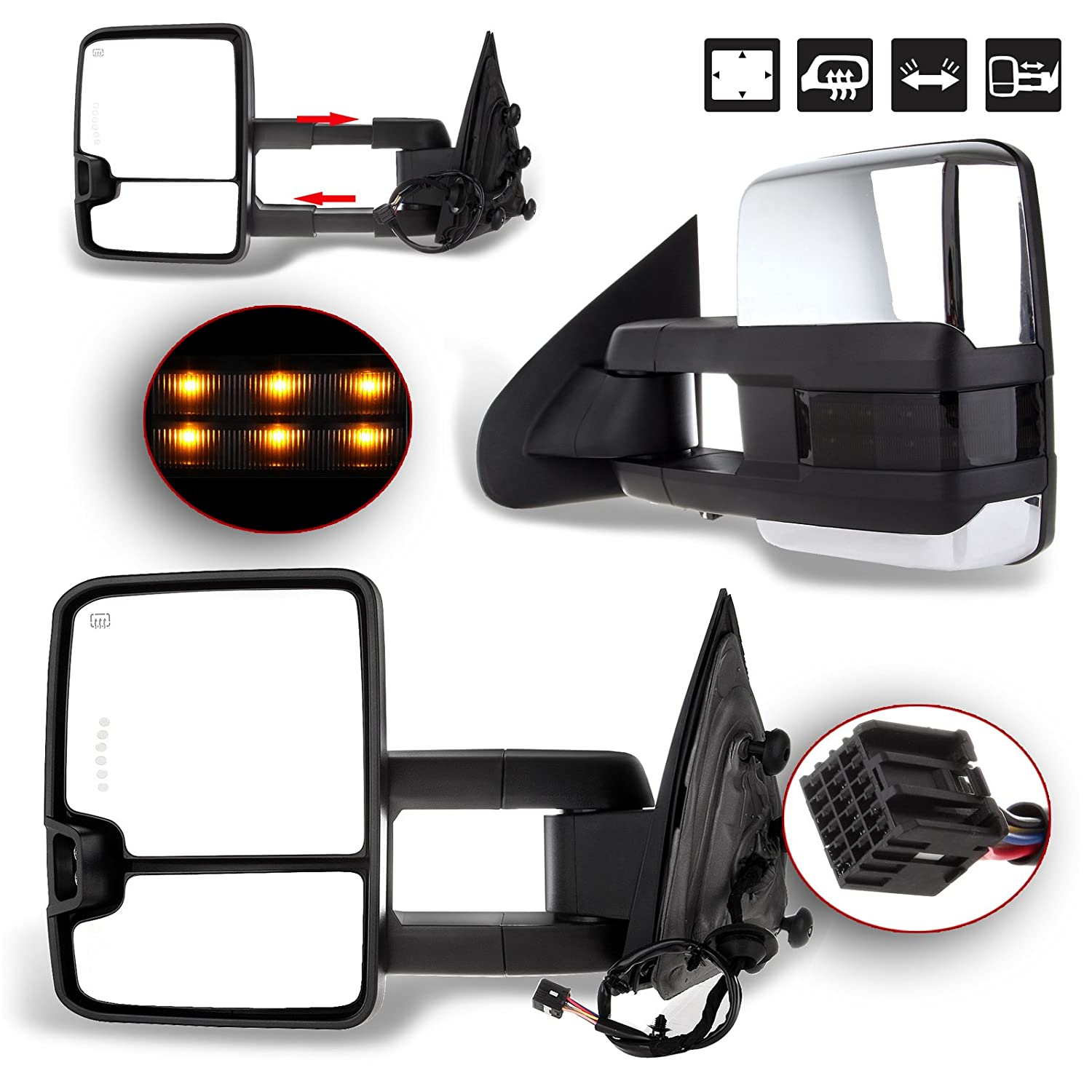 Towing Mirrors for 2003 2004 2005 2006 2007 Silverado Sierra Chevrolet Chevy gmc 1500 2500 3500 HD with Power Glass LED Arrow Turn Signal Light Backup Lamp Heated Extendable Pair Set