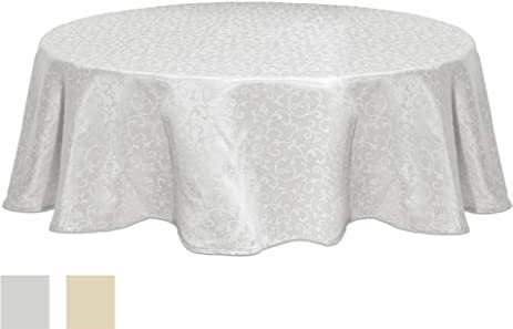 Lenox Opal Innocence 70 Inch Round Tablecloth, White