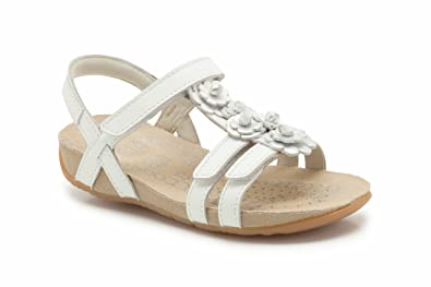 5301b6b78b624 Clarks Girls Out-Of-School Rio Fleur Leather Sandals In White Narrow Fit  Size