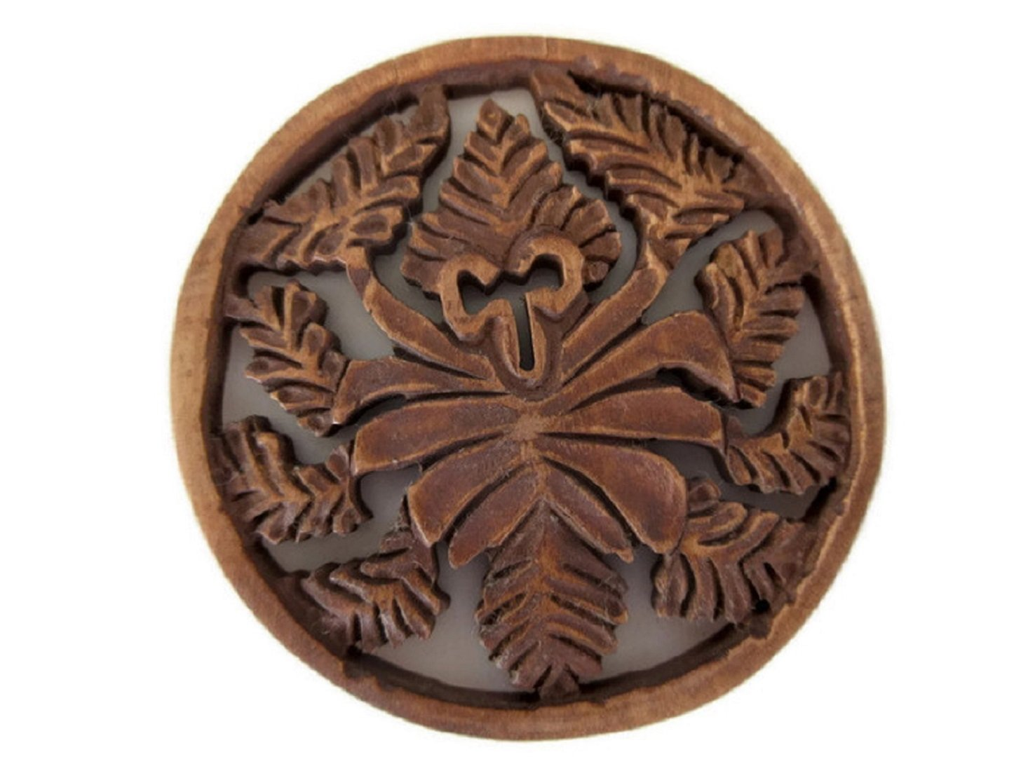 Hand Carved Wooden Pendant, Handmade Carved Round Fiigree Pendant, Wood Art And Craft Framing Supplies Jewelry, GDS1046/8 (2 Pieces)