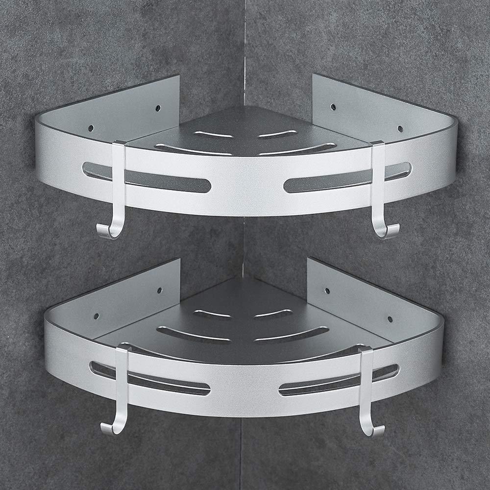Hoomtaook Estanteria Baño Ducha Rinconera Estantería de Esquina para Baño Ducha Aluminio, Acabado Mate, Estantes, 2 piezas Plata product image