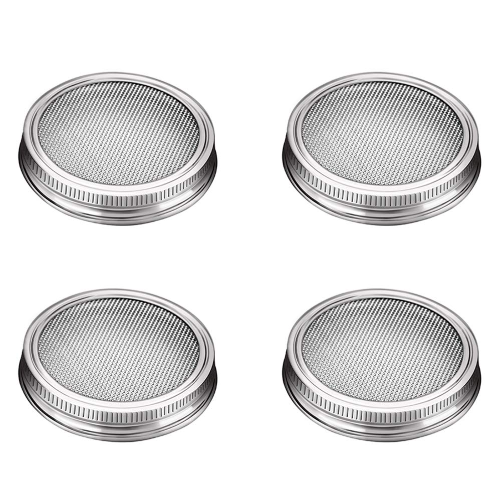 G.a HOMEFAVOR Stainless Steel Sprouting Jar Lids, Set of 4 Mesh Strainer Seed Germinator Lid Kit for Round Mouth Mason Jar- Growing Sprouts at Home Your?Favor?Mall