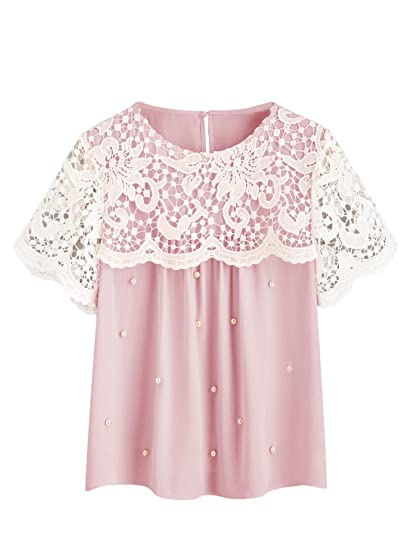 bf0ffb0475 SheIn Women's Round Neck Crochet Short Sleeve Beaded Chiffon Blouse Top at  Amazon Women's Clothing store: