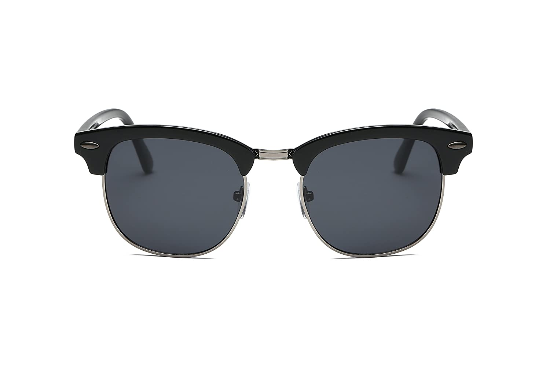 GREY Cramilo Vintage Half Frame Sunglasses For Men Women Classic Brand Sunglasses