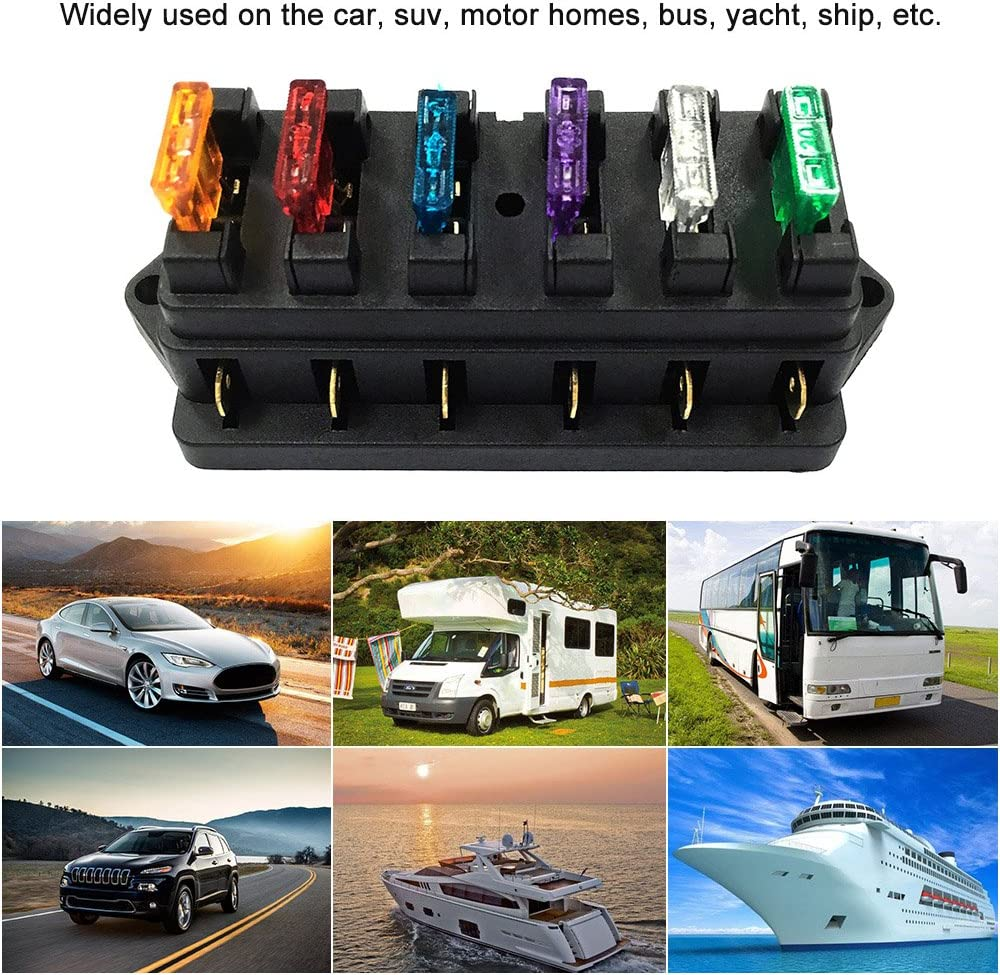 Tickas 8 Way Fuse Box Blade Fuse Block Holder Screw Nut Terminal with 8 Standard Fuses for Car Truck Boat Vehicle 12V//24V//32V