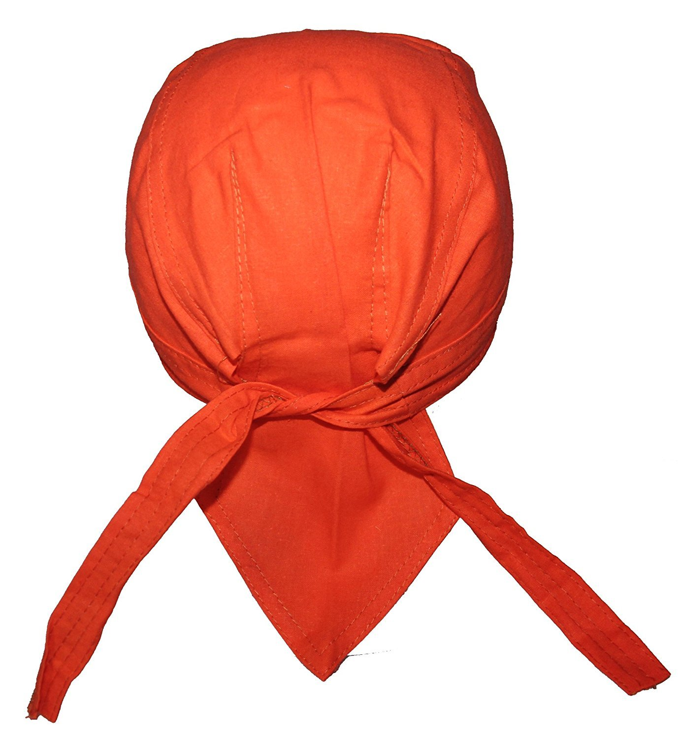Set of 4 Lined Orange Food Service Skull Cap Head Wrap Do-rag Chef Cook Medical Field