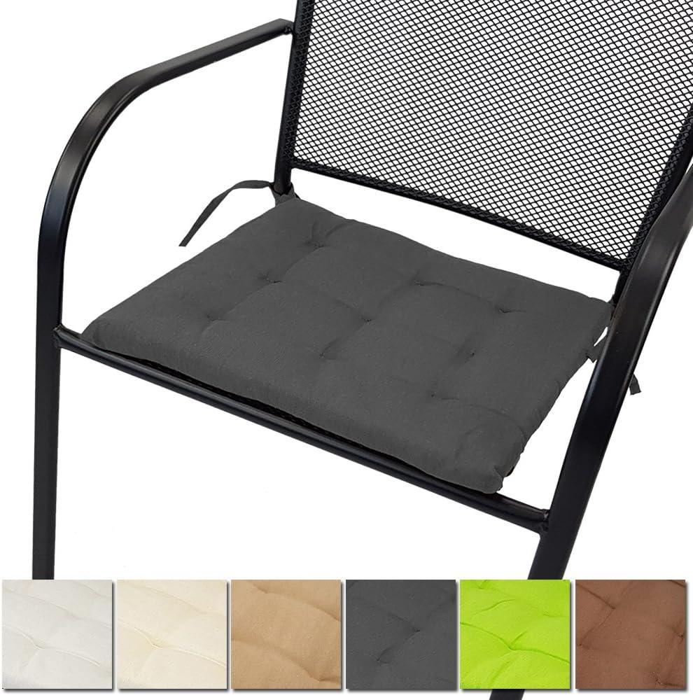 PROHEIM Set x4 Galettes de Chaise Nice 40 x 40 cm Couleur:Beige Coussins Moelleux Design capitonn/é avec Sangles et /épaisseur de 2,5 cm