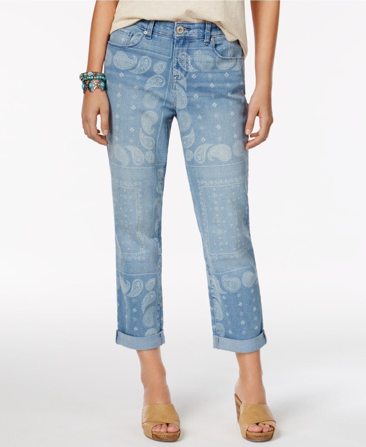 Style & Co. Womens Plus Denim Printed Boyfriend Jeans Blue 12