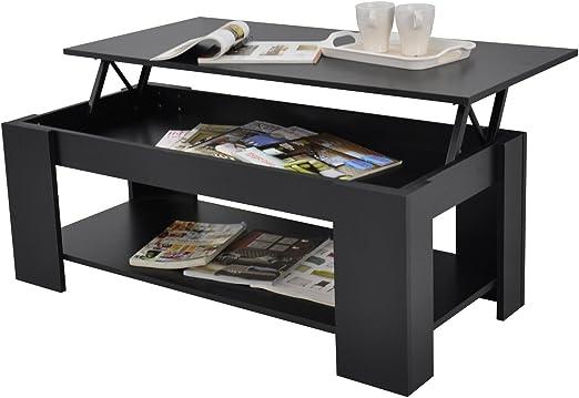 Kimberly Lift Up Top Coffee Table Storage Shelf Choice Colour Black