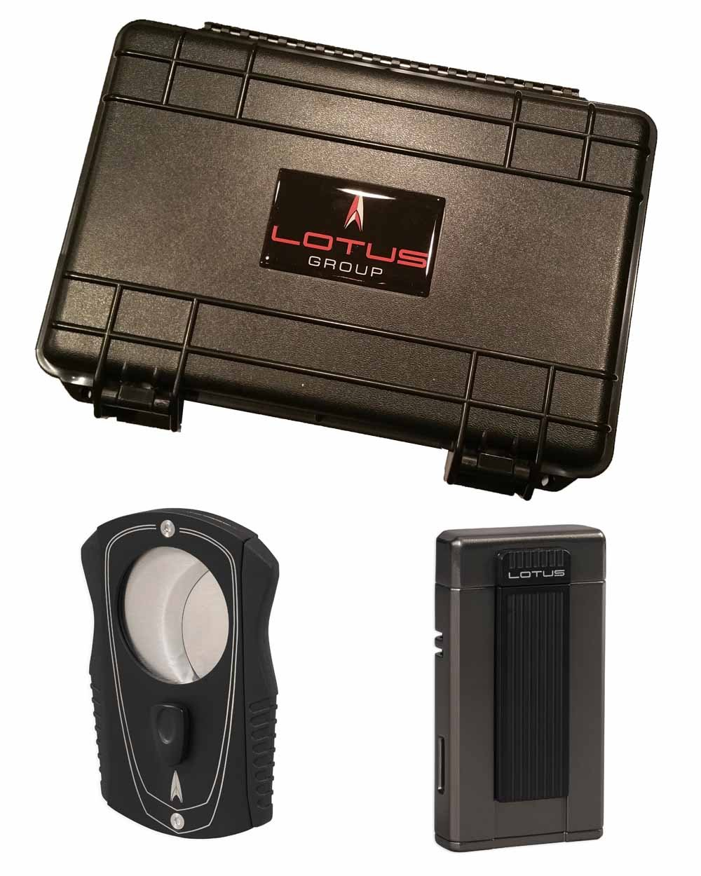 Ambassador Colussus 80 Ring Gauge Cutter Gift Set Gunmetal Lighter 5 Count Travel Humidor in an Attractive Gift Box Warranty