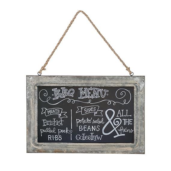 Amazon.com: Vintage Rustic Galvanized Metal Chalkboard With Jute ...