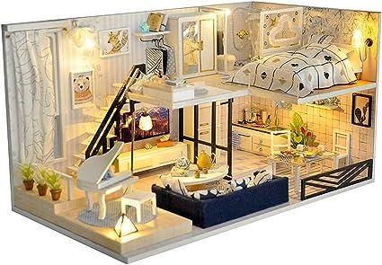 1:24 DIY Doll House Miniature Kit Toy Furniture LED Light w// Dustproof Cover
