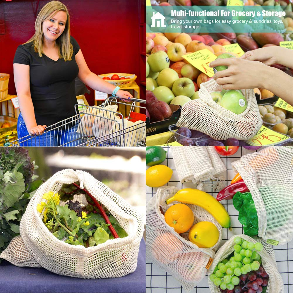 Reusable Produce Bags,Eco Friendly Biodegradable Natural Cotton Mesh Grocery Bag Washable Muslin Vegetable Bags Fruit Double Stitched Seams