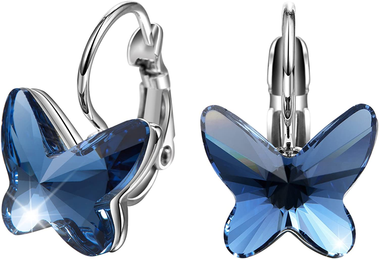T400 Jewelers Mariposa Hoop Pendientes de Cristales Zafiro Azul Rose Regalo de Mujeres Niña