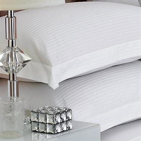 100% algodón Egipcio de satén de 500 Hilos Raya Fundas de Almohada, Super King 50 x 90 cm, Blanca: Amazon.es: Hogar