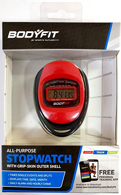 Month Display Bodyfit All-purpose Stopwatch Pro Series With Time Date NEW
