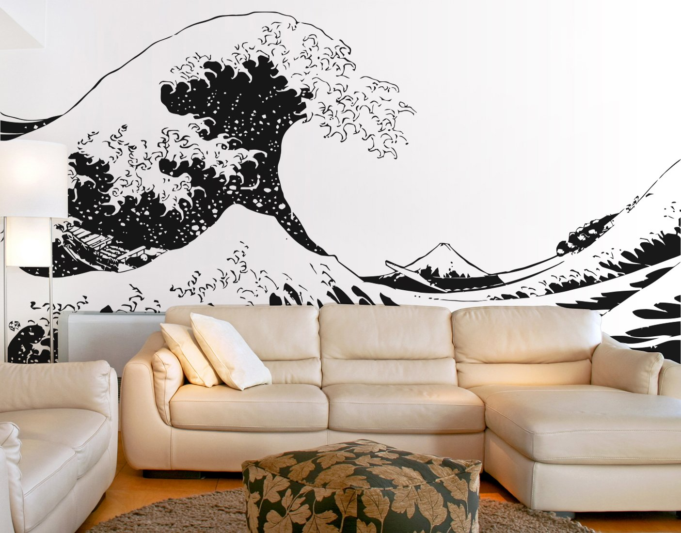Japanese Hokusai Great Wave Wall Decal Sticker by Stickerbrand (Black color) 96in X 151in. - Easy to Apply / Removable. Made in the USA. No Glue Needed. Safer than wallpaper. Black color #363-96x151 by Stickerbrand